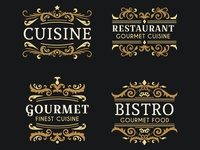 Retro Luxury Ornamental Restaurant Logo Collection