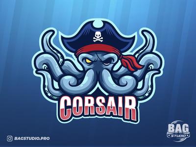 Pirate Octopus Esport Logo cartoon freepik eyepatch illustrator kraken vector character esport pirate corsair octopus mascot