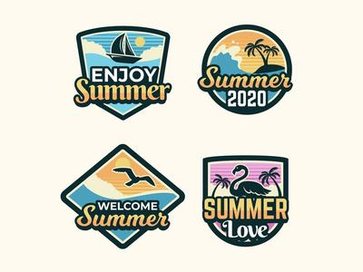 Vintage Summer Badges Collection 2020 free design illustration vector vintage retro logo badges tropical palmtree sun summer
