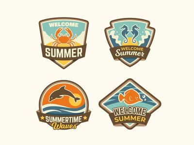 Vintage Summer Badges Collection 2020 sun summer waves dolphin fish beach sea tropical seahorse crab vector badges vintage