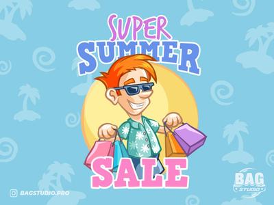Summer Sale Shopping Guy Illustration freepik mascot logo character illustration shopping shopper tourist glasses vacation sale summer