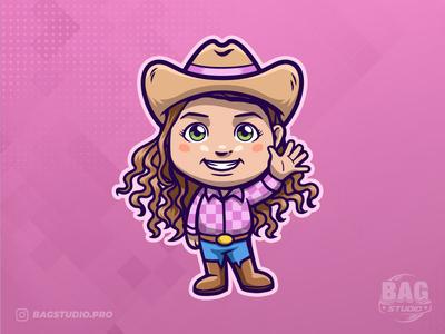 Cowgirl Cartoon Mascot cowgirl vector illustration cartoon design character mascot logo
