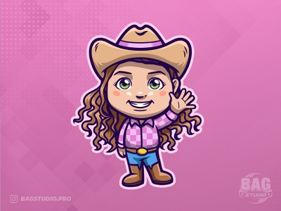 Cowgirl Cartoon Mascot cowgirl vector illustration cartoon design character mascot logo