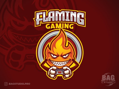 Flame Mascot Gamer Esport Logo Template cartoon console esport hot fire streamer gaming joypad template logo gamer flame