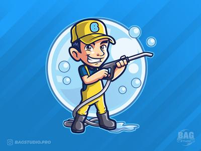 Carwash Mascot Logo service illustration hose valet bubbles washer cleaner guy cartoon carwash logo mascot