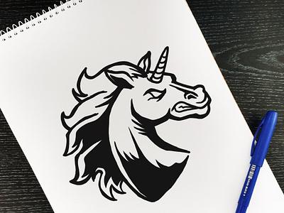 Angry Unicorn Esport Logo Template gamer fantasy cartoon mascot envato illustrator vector team logo esport horse unicorn