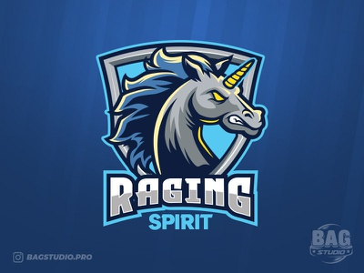 Angry Unicorn Esport Logo Template gamer fantasy cartoon mascot envato illustrator vector team logo esport horse unicorn