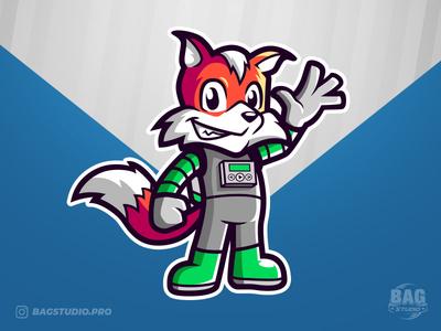 Space Fox Mascot tail cute character cartoon astronaut spaceman illustration logo mascot fox