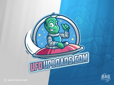 Ufo Alien Mascot Logo ship character illustration cartoon scifi martian mascot space saucer ufo logo alien