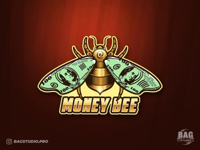 Money Bee Logo bug brand money golden bumblebee dollar bee illustration logo mascot vector