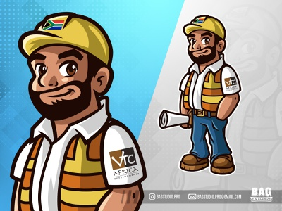 Constructor Mascot illustration contractor helmet constructor builder mascot cartoon character vector logo