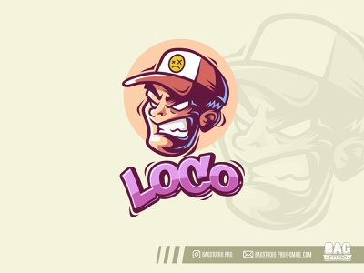 Loco Angry Guy Logo mad vector loco hat illustrator cartoon mascot character guy angry logo