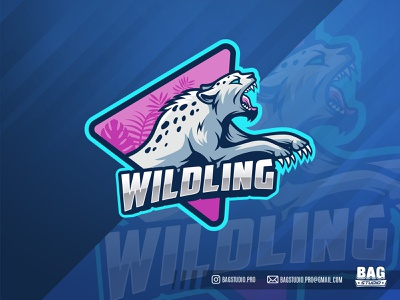 Jumping Wild Jungle Cat esport logo jumping attack animal wild leopard cheetah wildcat cat feline esport illustration mascot logo