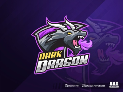 Dark Dragon Esport Logo emblem breathing monster beast sportslogo esports illustration gamer wild fire dragon mascot logo