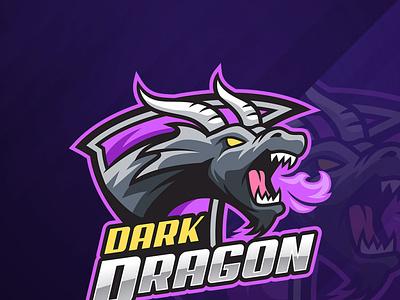Dark Dragon Esport Logo emblem breathing monster beast sportslogo esports illustration gamer wild fire dragon mascot logo