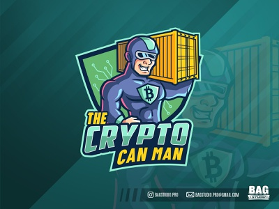 Cryptocurrency Superhero Mascot seacan branding illustration bitcoin cyber strong cryptocurrency superhero character cartoon mascot