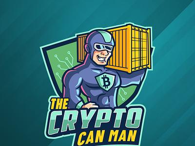Cryptocurrency Superhero Mascot seacan branding illustration bitcoin cyber strong cryptocurrency superhero character cartoon mascot