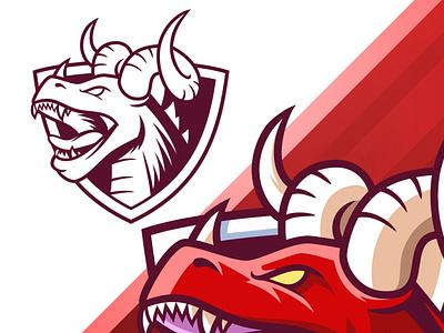 Evil Red Dinosaur Esport Logo character logo emblem badge wild angry mascot illustration esports horns dragon dinosaur red