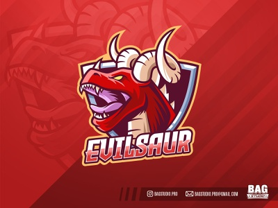 Evil Red Dinosaur Esport Logo character logo emblem badge wild angry mascot illustration esports horns dragon dinosaur red
