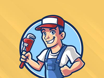 Plumber Mascot Logo vector worker repair fix service tool repairman contractor plumber illustration cartoon character mascot logo