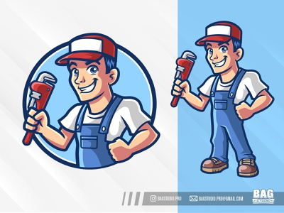 Plumber Mascot Logo vector worker repair fix service tool repairman contractor plumber illustration cartoon character mascot logo
