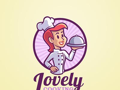 Lady Cook Vintage Mascot Logo vector restaurant illustration freepik vintage chef cooking character cartoon mascot