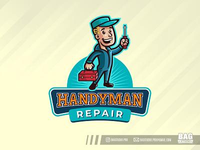 Vintage Handyman Mascot Logo technician handyman repair illustration vintage character mascot cartoon logo