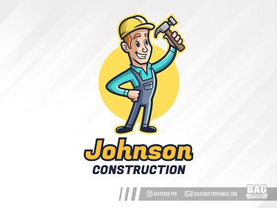 Constructor Cartoon Mascot Logo handyman man illustration vintage logo mascot builder constructor helmet contractor hammer cartoon