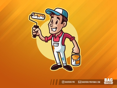Cartoon Painter Mascot Logo paint roller retro
