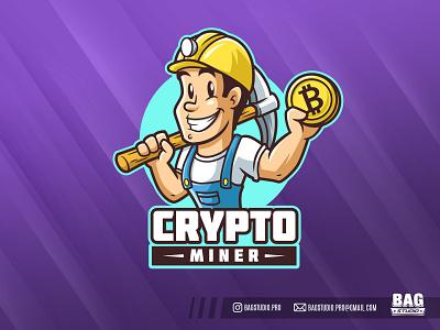 Crypto Miner Mascot Logo cryptocurrency bitcoin