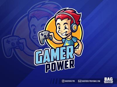 Gamer Kid Mascot Logo streamer vector logo boy kid esport illustration character player headset gamepad gaming mascot cartoon gamer