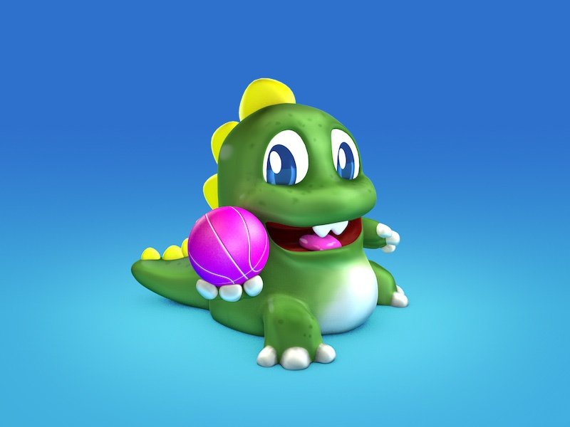 I'll take my best shot!! dragon cute pink basketball bubblebobble cinema4d character render 3d