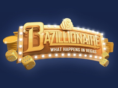 Bazillionaire Marquee casino gambling vegas banner marquee shiny cinema4d typography lettering render 3d golden