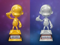 Gold & Silver 3D Guy Trophies