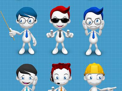 3D Guy Character pack nerd mascot character cartoon cardboard businessman business bowtie blank 3d