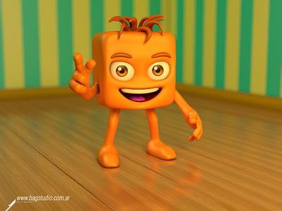 Orange Cube Character 3dcharacterdesign smile orange mascot character cute render 3d cube