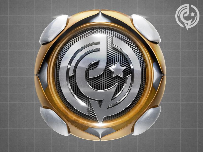 Bagstudio Gold and Silver Emblem shiny chrome silver gold metal design cinema4d render 3d logo shield emblem
