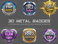 3D Metal Badges Template Pack