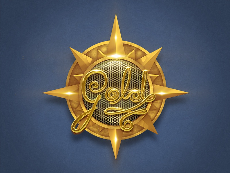 Golden Badge lettering relic ancient sun shiny aztec medallion badge render 3d gold golden