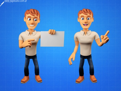 3d guy character render promote man guy smile mascot character render 3d