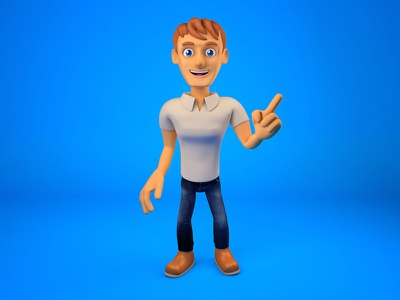 3d guy character render promote man guy smile mascot character render 3d
