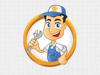 Repairman Vector Logo Template & Mascot