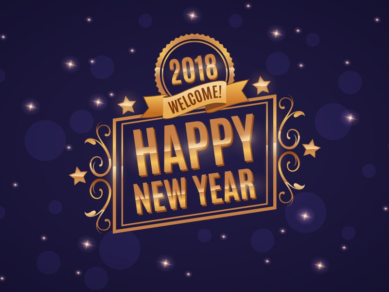 new year background free celebrate 2018 starry sky star badge design golden new year happy