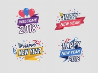 2018 Free Happy New Year Badges