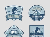 Vintage ski snow badge 02