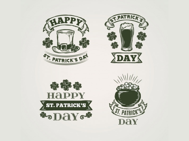 Saint Patrick badges collection pot gold luck irish leprechaun beer clover green labels logos badges saint patrick