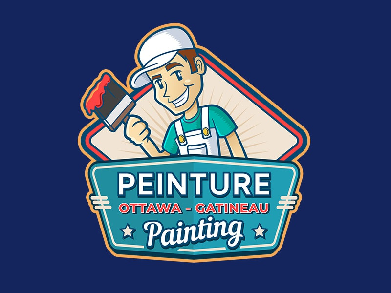 Painter Mascot + Logo billboard paintbrush paint guy illustration retro vintage mascot logo painter