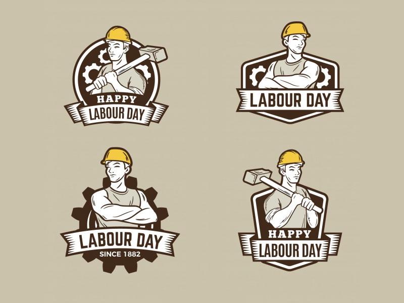 Vintage Labour Day Badges Collection tools labor seal collection vector worker helmet day labour labels badges vintage