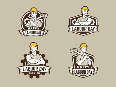 Vintage Labour Day Badges Collection