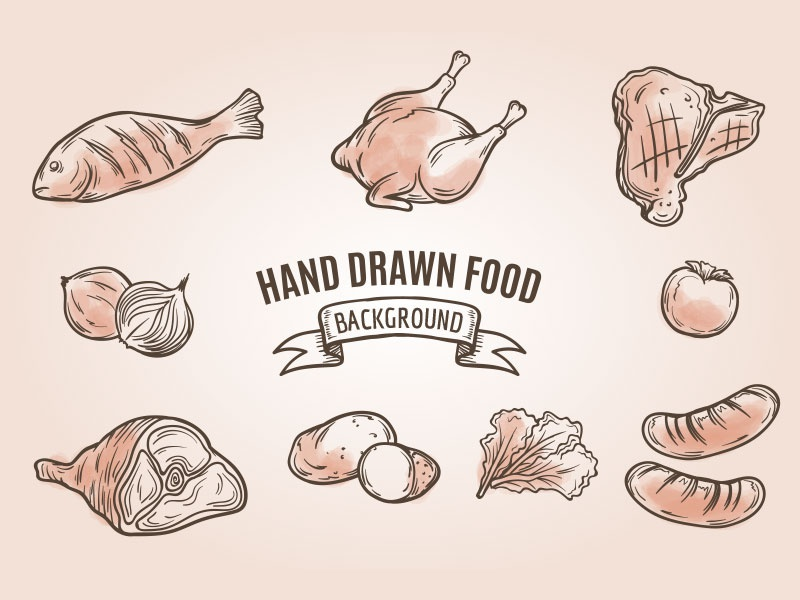 Hand Drawn Food vintage recipe chicken fish stake beef gourmet meat dishes restaurant food hand drawn